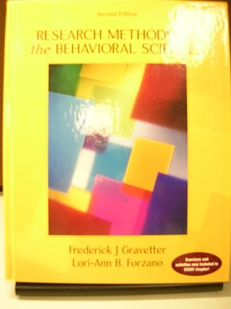 Research Methods for the Behavioral Sciences 2nd 2006 edition cover