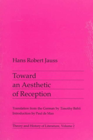 Toward an Aesthetic of Reception  N/A edition cover