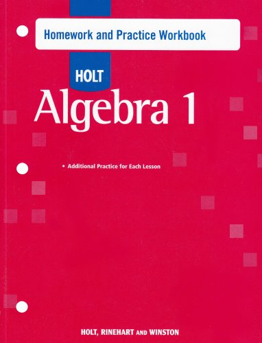 Algebra 1 Homework and Practice Workbook  2006 9780030466373 Front Cover