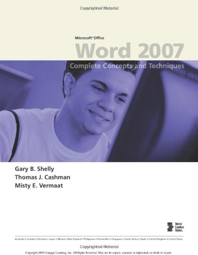 Microsoft Office Word 2007 Complete Concepts and Techniques  2008 edition cover