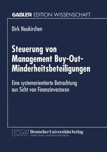 Steuerung Von Management Buy-Out-Minderheitsbeteiligungen   1996 9783824463374 Front Cover