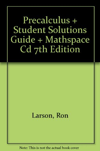 Precalculus Plus Student Solutions Guide Plus Mathspace Cd Seventh Edition 7th 2007 9780618804375 Front Cover