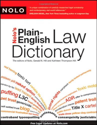 Nolo's Plain-English Law Dictionary   2009 edition cover