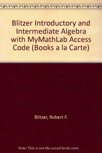 Introductory and Intermediate Algebra for College Students  4th 2013 edition cover