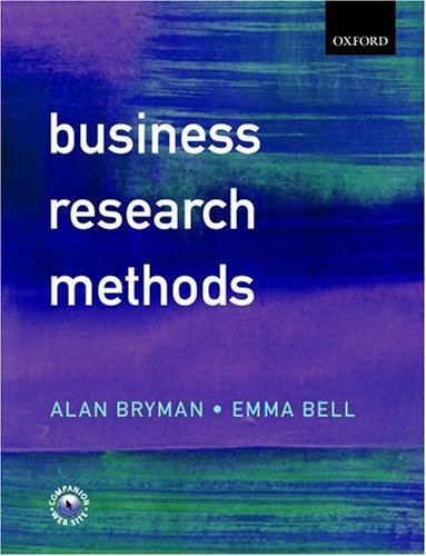 Business Research Methods   2003 9780199259380 Front Cover