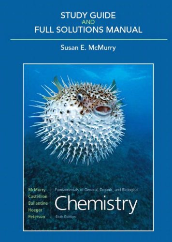 Study Guide and Full Solutions Manual for Fundamentals of General, Organic, and Biological Chemistry  6th 2010 edition cover