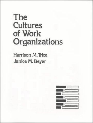 Cultures of Work Organizations  1st 1993 edition cover