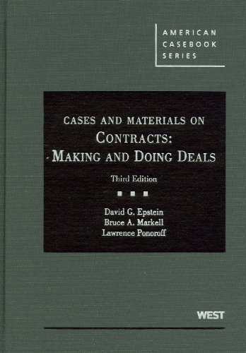 Cases and Materials on Contracts Making and Doing Deals 3rd 2011 (Revised) edition cover