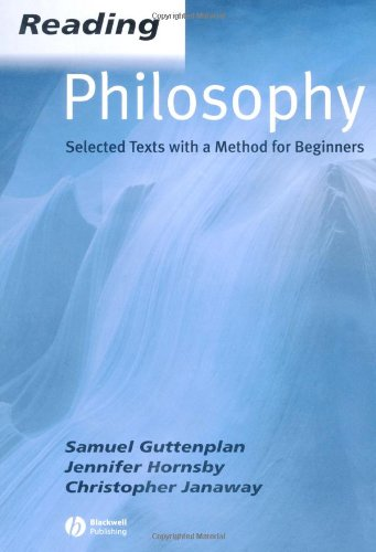 Reading Philosophy Selected Texts with a Method for Beginners  2002 edition cover