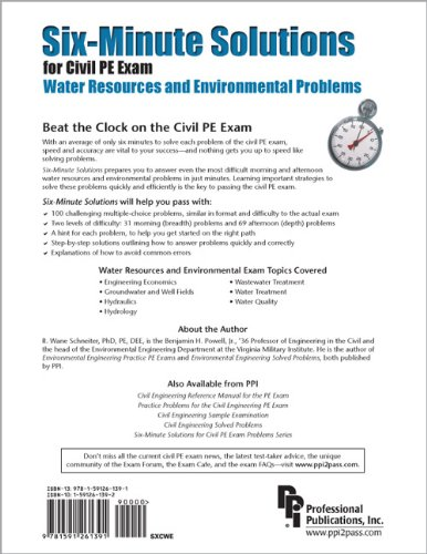 Six-Minute Solutions for Civil PE Exam Water Resources and Environmental Problems  2008 edition cover