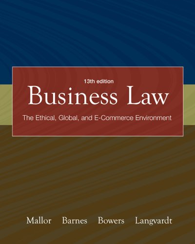 Business Law with OLC card and You Be the Judge DVD (Vol 1 &2)  13th 2007 (Revised) edition cover