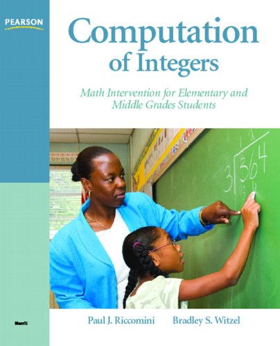 Computation of Integers Math Intervention for Elementary and Middle Grades Students  2010 edition cover