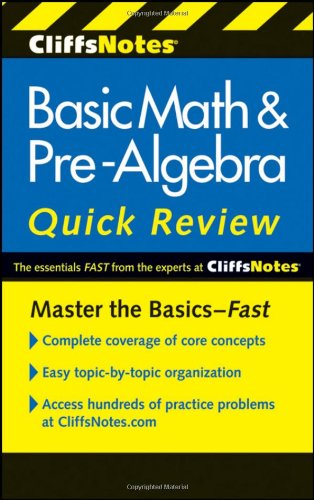 CliffsNotes Basic Math and Pre-Algebra Quick Review  2nd 2011 edition cover