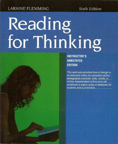 READING FOR THINKING >INSTRS.ANNOT.ED< 6th 2009 9780618985401 Front Cover