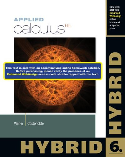 Applied Calculus, Hybrid  6th 2014 edition cover