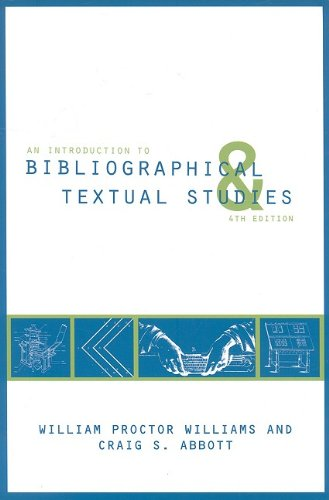 Introduction to Bibliographical and Textual Studies  4th 2009 edition cover