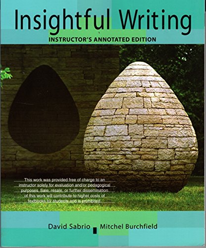 Insightful Writing A Process Rhetoric with Readings  2009 9780618958405 Front Cover