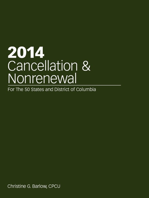 2014 Cancellation & Nonrenewal 127th 9781939829405 Front Cover