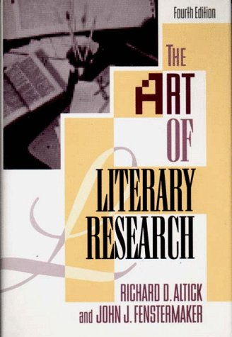 Art of Literary Research  4th 1993 edition cover