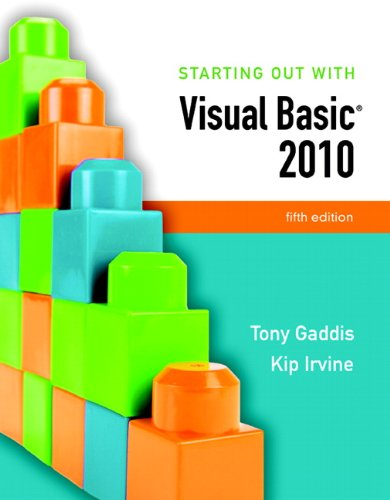 Starting Out with Visual Basic 2010  5th 2011 edition cover