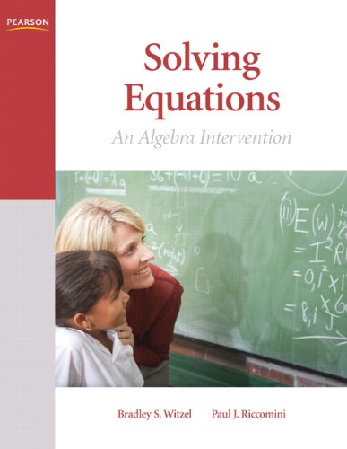 Solving Equations An Algebra Intervention  2011 edition cover