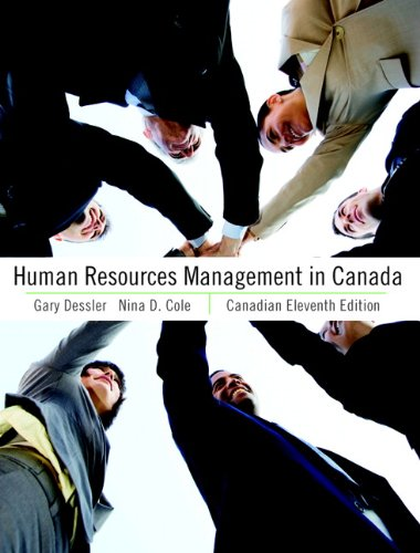 Human Resources Management in Canada  11th 2011 9780132142410 Front Cover