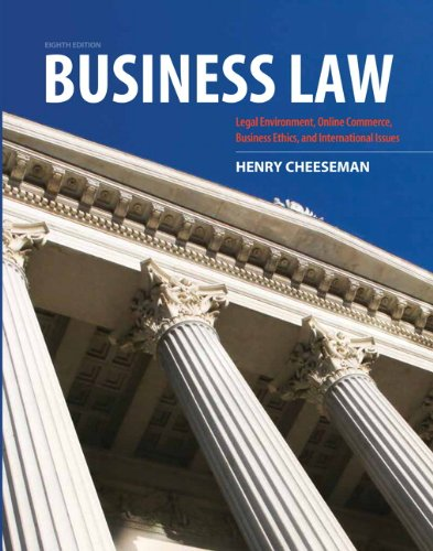 Business Law  8th 2013 (Revised) 9780132890410 Front Cover