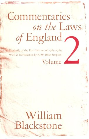 Commentaries on the Laws of England, 1765-1769  Facsimile 9780226055411 Front Cover