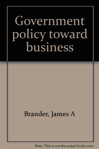 Government Policy Toward Business 3rd 1995 9780471641414 Front Cover