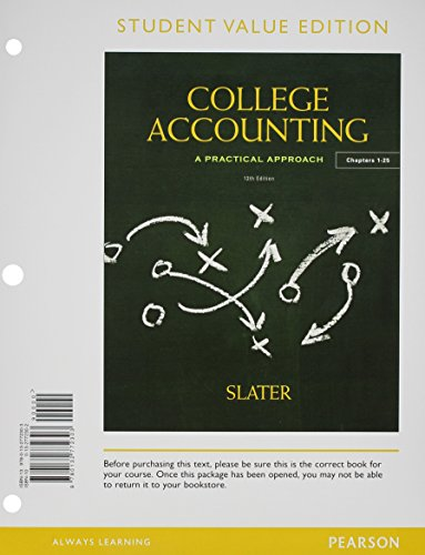 College Accounting Chapters 1-25, Student Value Edition Plus NEW MyAccountingLab with Pearson EText -- Access Card Package  12th 2013 edition cover
