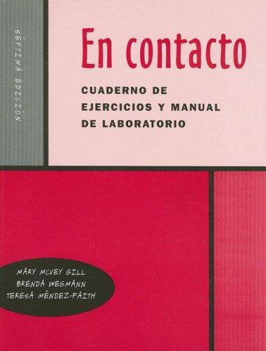En Contacto Cuaderno de Ejercicios y Manual de Laboratorio  7th 2003 9780030345418 Front Cover
