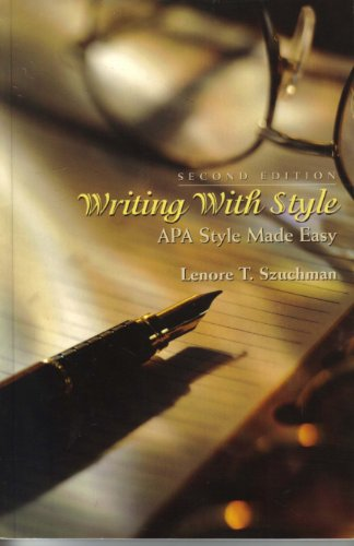 Writing with Style APA Style Made Easy 2nd 2002 9780534572419 Front Cover