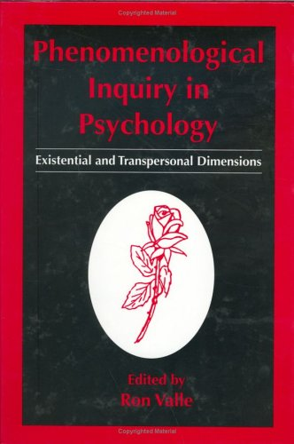 Phenomenological Inquiry in Psychology Existential and Transpersonal Dimensions  1998 9780306455421 Front Cover