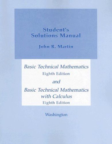 Basic Technical Mathematics and Basic Technical Mathematics with Calculus, Student's Solutions Manual  8th 2005 edition cover