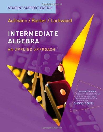 Intermdiate Algebra Student Support Edition  7th 2009 9780547016429 Front Cover