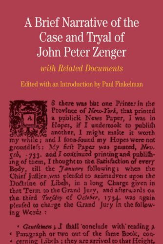 Brief Narrative of the Case and Tryal of John Peter Zenger With Related Documents  2010 edition cover