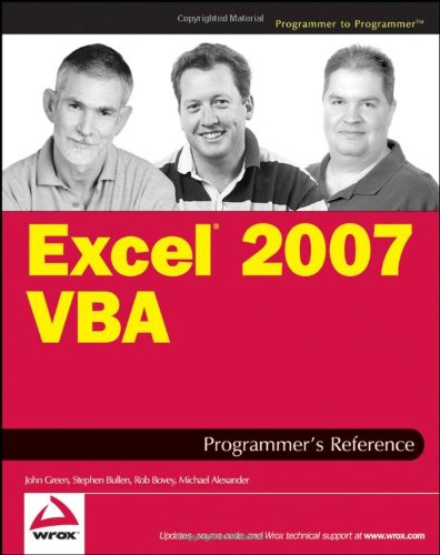 Excel 2007 VBA Programmer's Reference   2007 edition cover
