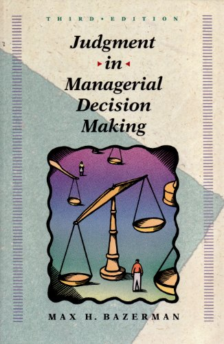 Judgement In Managerial Decision Making  3rd 1994 9780471586432 Front Cover