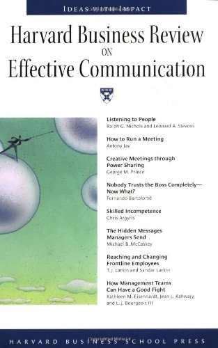 Harvard Business Review on Effective Communication   1999 edition cover