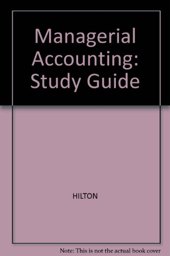 MANAGERIAL ACCOUNTING-STD.GDE. 4th 1999 edition cover