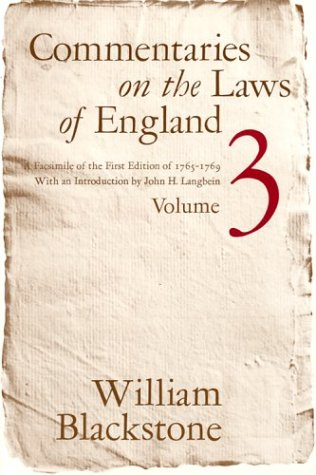 Commentaries on the Laws of England  Facsimile  9780226055435 Front Cover