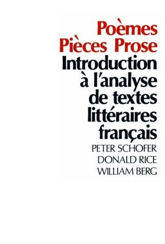 Po�mes, Pi�ces, Prose Introduction � l'Analyse de Textes Litt�raires Fran�ais N/A edition cover