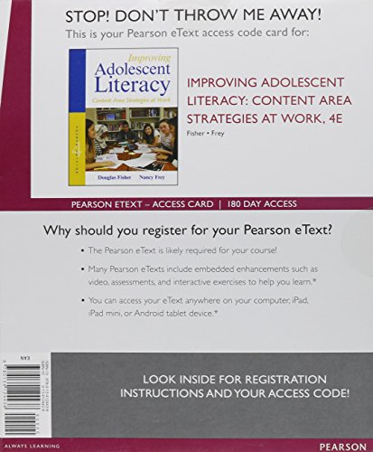 Improving Adolescent Literacy Content Area Strategies at Work, Enhanced Pearson EText -- Access Card 4th 2016 9780134124438 Front Cover