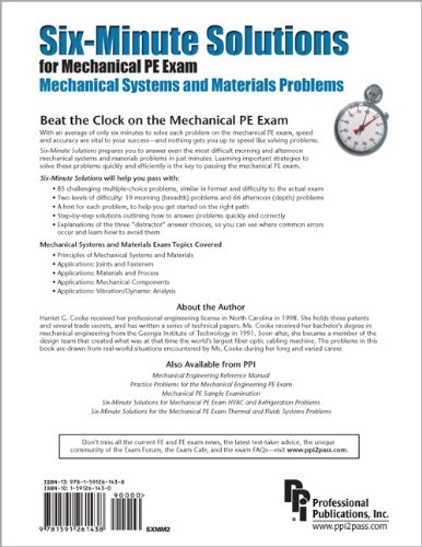 Six-Minute Solutions for Mechanical PE Exam Mechanical Systems and Materials Problems  2nd 2008 edition cover