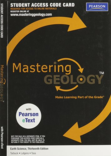 EARTH SCIENCE-MASTERING GEOLOGY ACCESS N/A edition cover