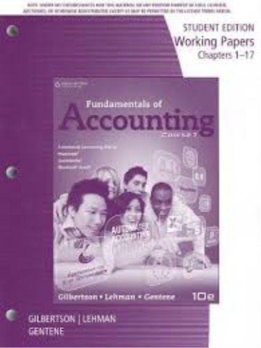 Fundamentals of Accounting  10th 2014 edition cover