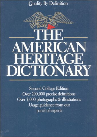 American Heritage Dictionary of the English Language New College Edition 2nd 1982 edition cover