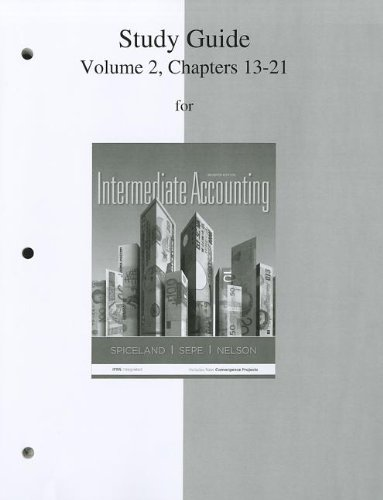 Study Guide Volume 2 for Intermediate Accounting  7th 2013 9780077446444 Front Cover