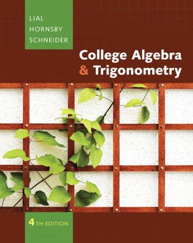College Algebra and Trigonometry  4th 2009 edition cover
