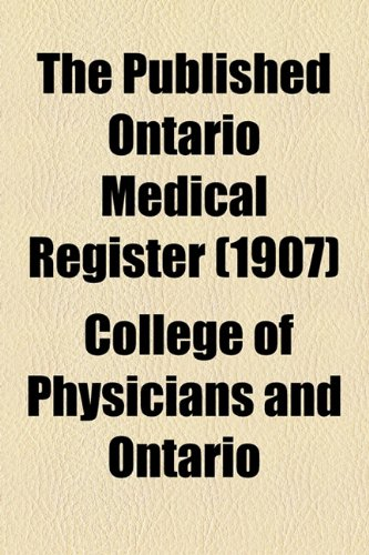 Published Ontario Medical Register  2010 edition cover